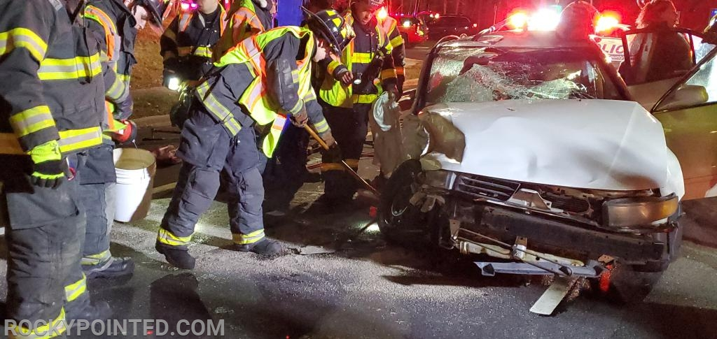 Jaws of Life goes to work to free the passenger