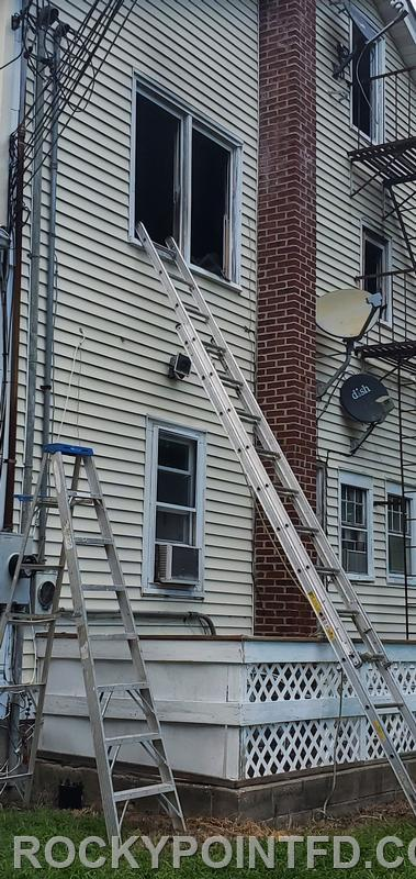 Trapped occupant removed from 2nd floor window by Ex-chief Bill Lattman.The victim suffered from burns and transported to SBUHosp.