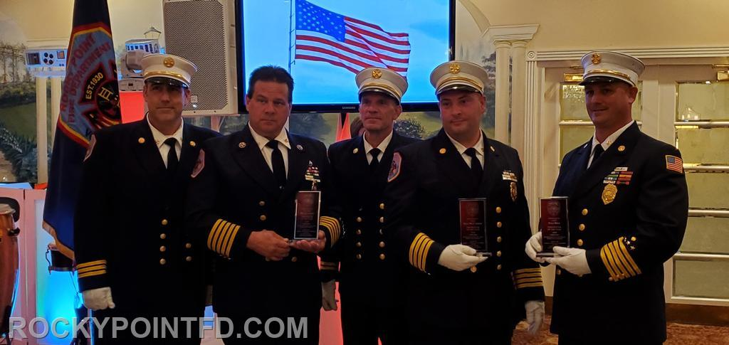 Firefighter of the year Award 2019 Chief Fred Hess (far right) 1st Asst. Chief Sean McCarrick (2nd from right) Ex-Chief Bill Lattman (2nd from left) Rescued a male from collapsed cesspool