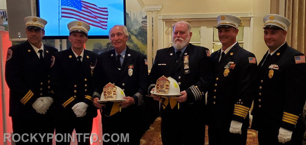 Last Award of the night was  Honorary Chief Award Ex-Capt.Hoard Sedell 55years active Ex-Capt. John Driscoll 50years Active